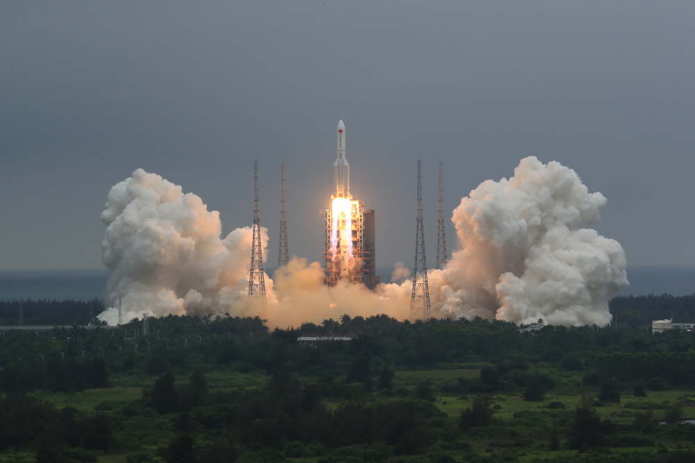 A Long March 5B rocket carrying a module for a Chinese space station lifts off from the Wenchang Spacecraft Launch Site in Wenchang in southern China's Hainan Province, on April 29. The central rocket segment that launched the 22.5-ton core of China's newest space station into orbit is due to plunge back to Earth as early as Saturday in an unknown location.