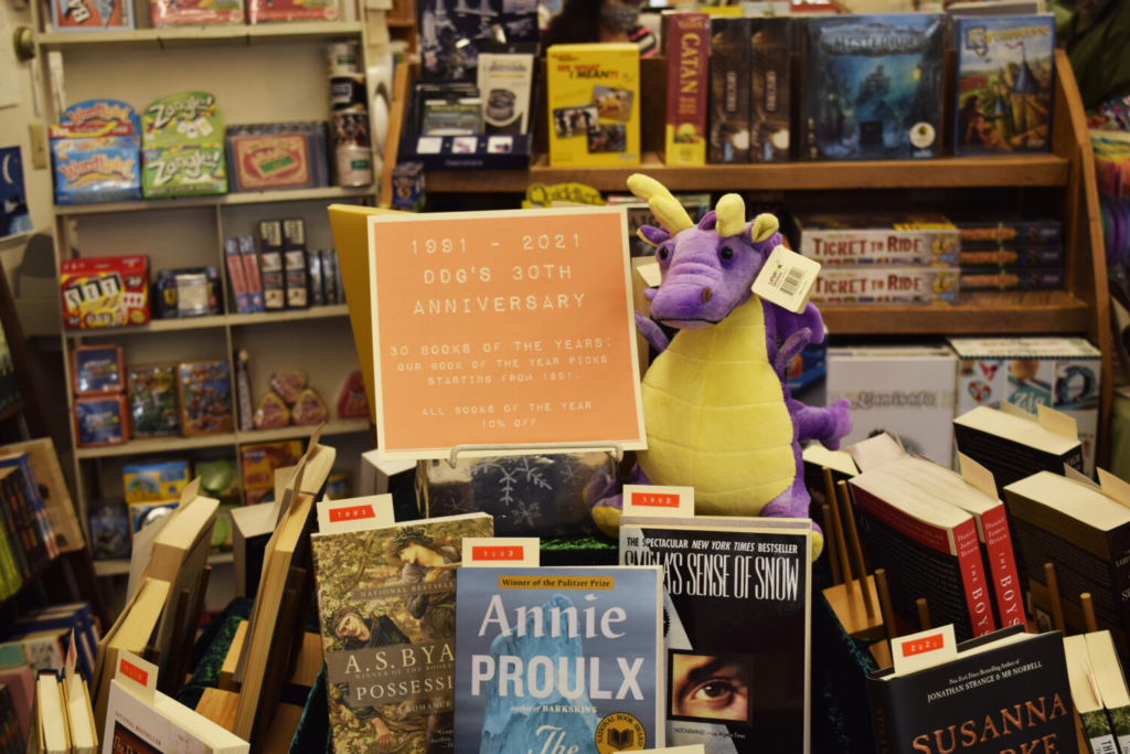 Devaney, Doak & Garrett feature an in-store display of 30 favorite books for every year they've been in business.