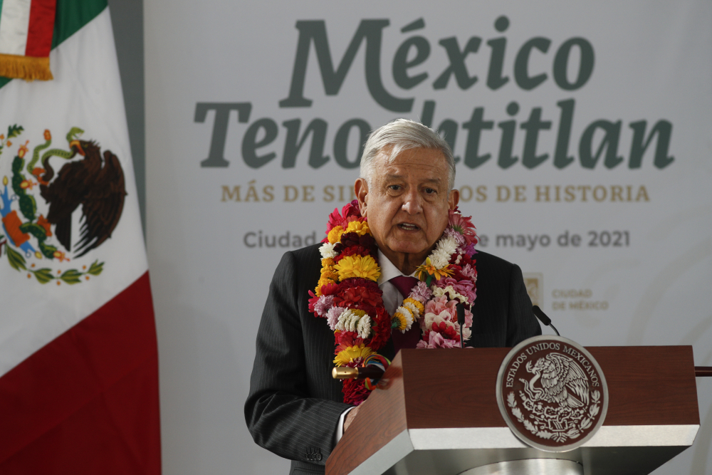 Mexican President Andres Manuel Lopez Obrador, shown last week during a ceremony marking the 700-year anniversary of the founding of Tenochtitlan, on Monday apologized for the 1911 massacre of more than 300 Chinese people.