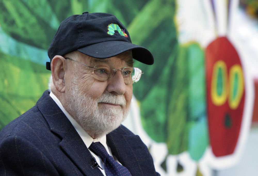 """Author Eric Carle reads his classic children's book """"The Very Hungry Caterpillar"""" on the NBC """"Today"""" television program in New York in 2009."""