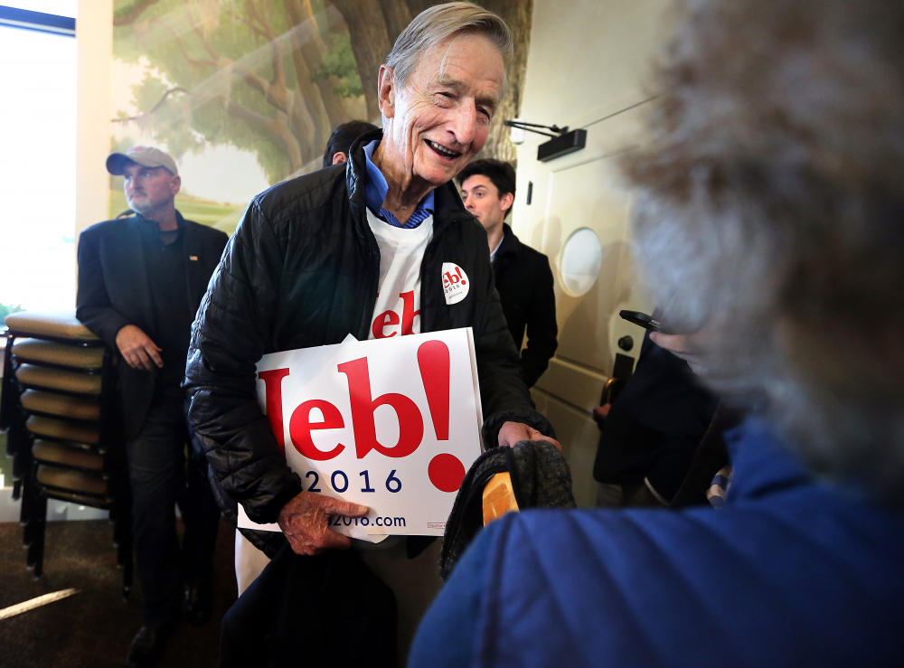 Jonathan Bush talks at a campaign event  for his nephew, former Florida Gov. Jeb Bush, in 2016. (Wade Spees/The Post And Courier via AP)