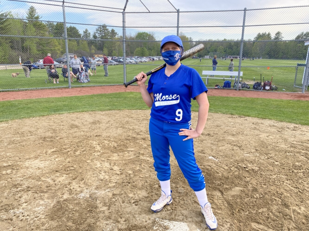 Morse's Maddie Potter stands by home plate on Monday afternoon in Bath.