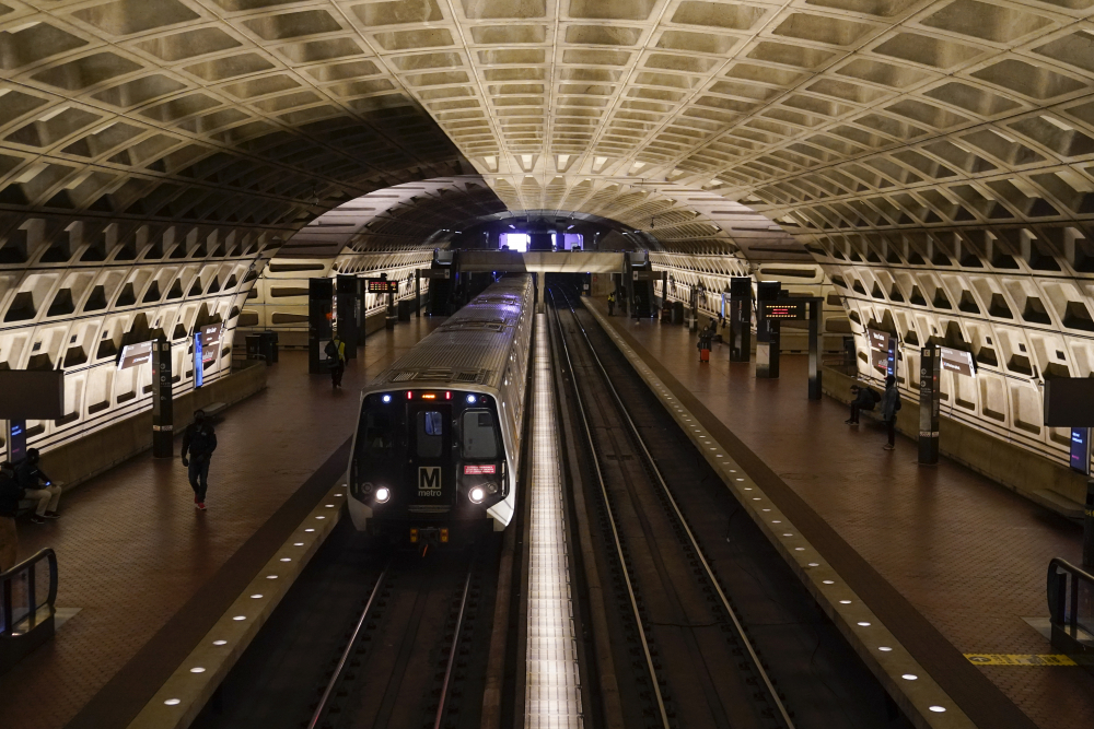 A train arrives at Metro Center station Friday in Washington.