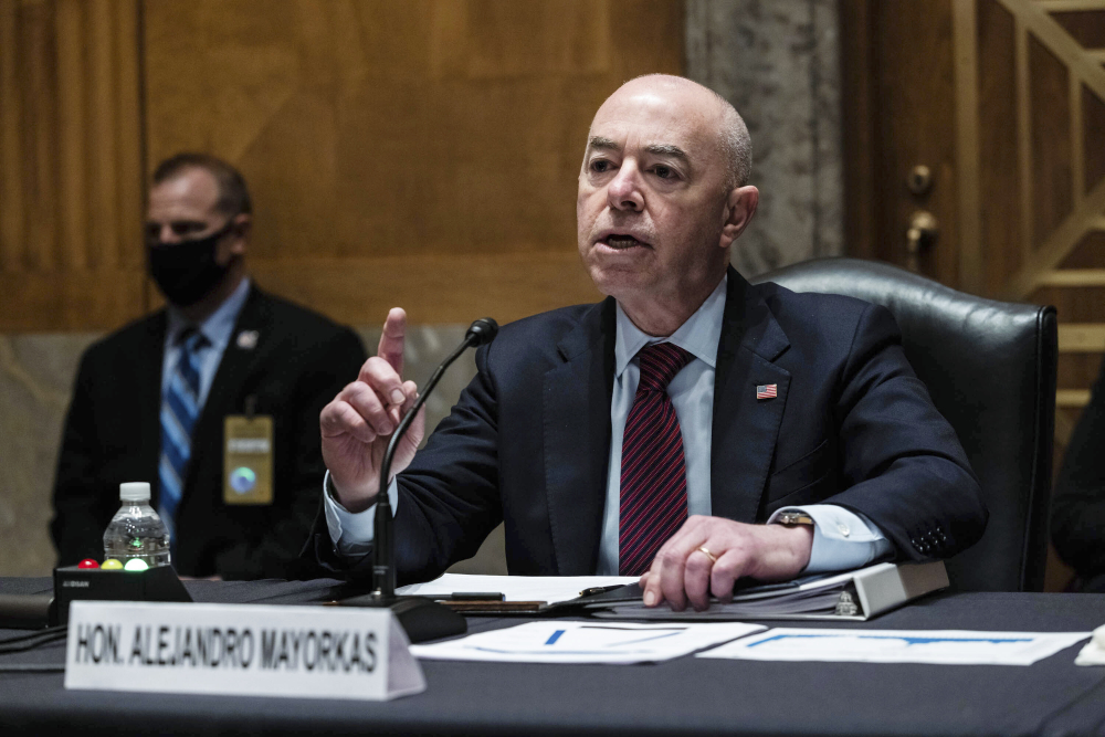 Homeland Security Secretary Alejandro Mayorkas testifies before a Senate Homeland Security and Government Affairs Committee hearing on Capitol Hill in Washington on Thursday.