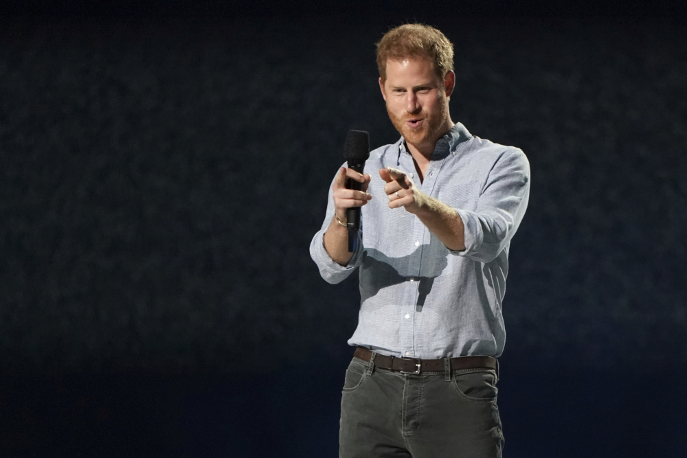 "Prince Harry, Duke of Sussex, speaks at ""Vax Live: The Concert to Reunite the World"" on Sunday, May 2, at SoFi Stadium in Inglewood, Calif."