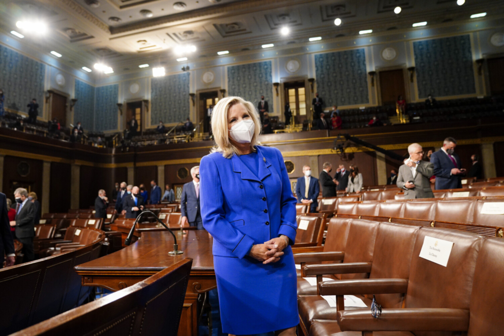 Rep. Liz Cheney, R-Wyo., waits for the arrival of President Joe Biden, before he addresses a joint session of Congress on April 28.