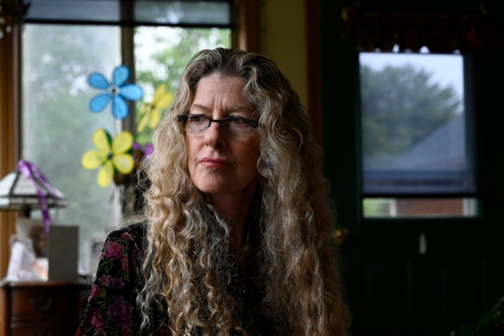 Linda Mitchell-Storer, 68, who is in the early stages of Alzheimer's disease, at her home in Orrington. She said she is prepared to try Biogen's new treatment, though she knows it may not help slow the disease's progression.