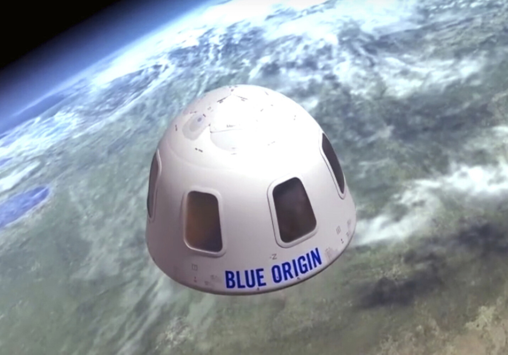 The Blue Origin capsule will take passengers to an altitude of about 65 miles, just beyond the edge of space, and then return to Earth without going into orbit.