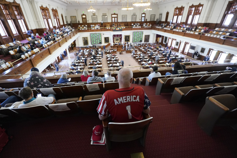 Gerald Welty sits in the House Chamber at the Texas Capitol as he waits to hear debate on voter legislation in Austin, Texas, in May.