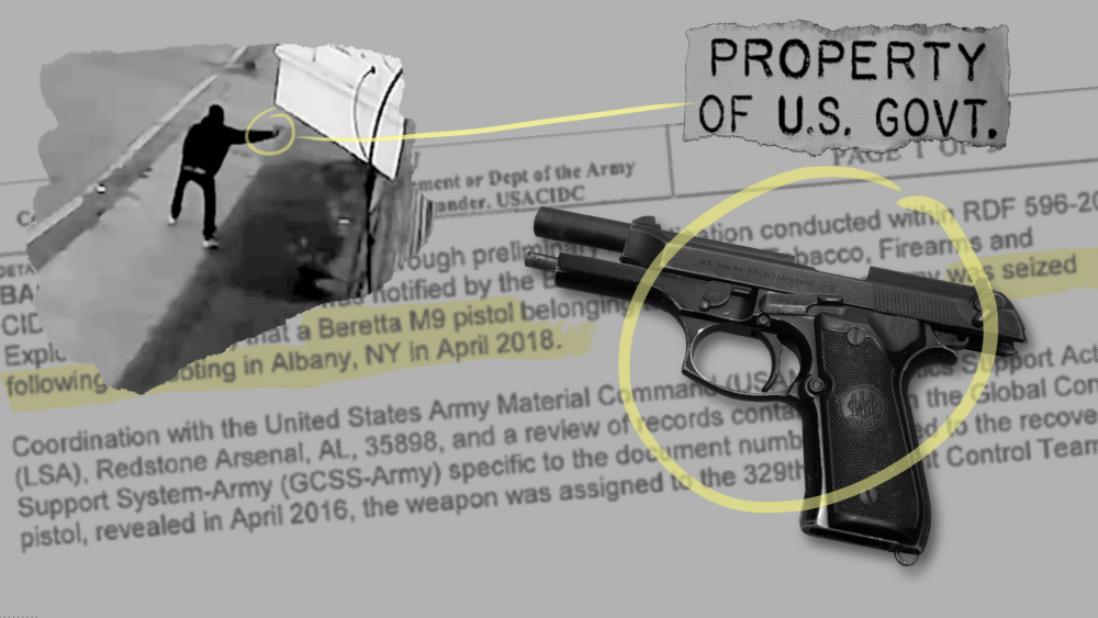 This photo illustration shows a gun tied to four shootings in Albany, New York, an investigative document and surveillance video of one shooting.