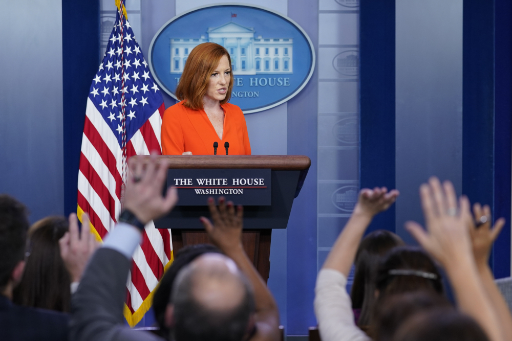 """White House press secretary Jen Psaki  during the daily briefing at the White House on Monday. """"The president's pledge was not to raise taxes on Americans making less than $400,000 a year, and the proposed gas tax or vehicle mileage tax would do exactly that,"""" said Psaki. """"So that is a nonstarter for him."""""""