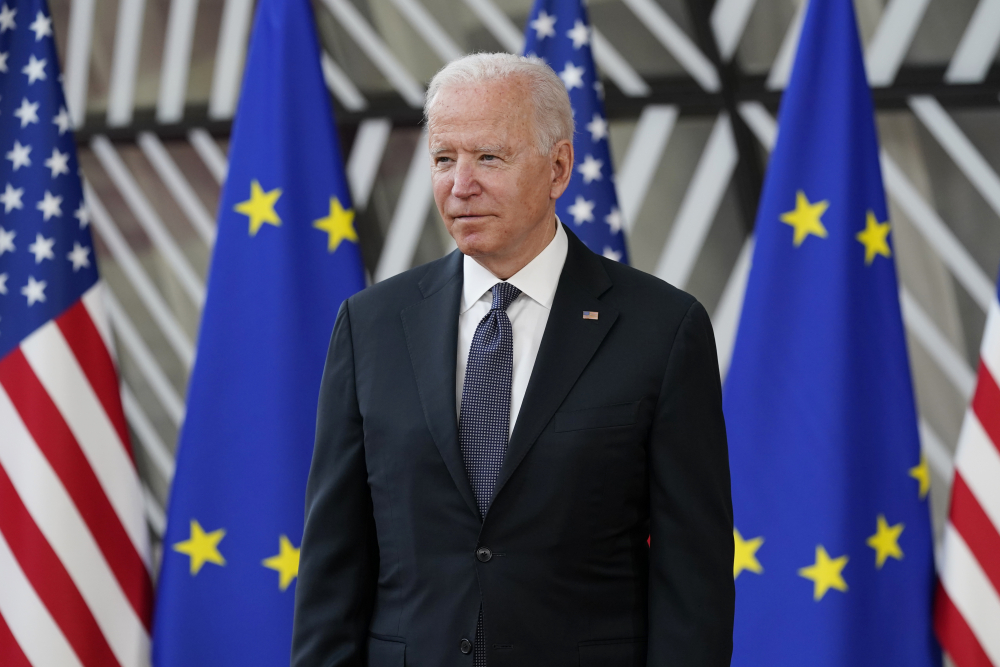 President Biden arrives for the United States-European Union Summit at the European Council in Brussels on Tuesday. Biden's first overseas trip was deliberately sequenced so that he will meet with Russian President Vladimir Putin only after spending days meeting with European allies and powerful democracies.