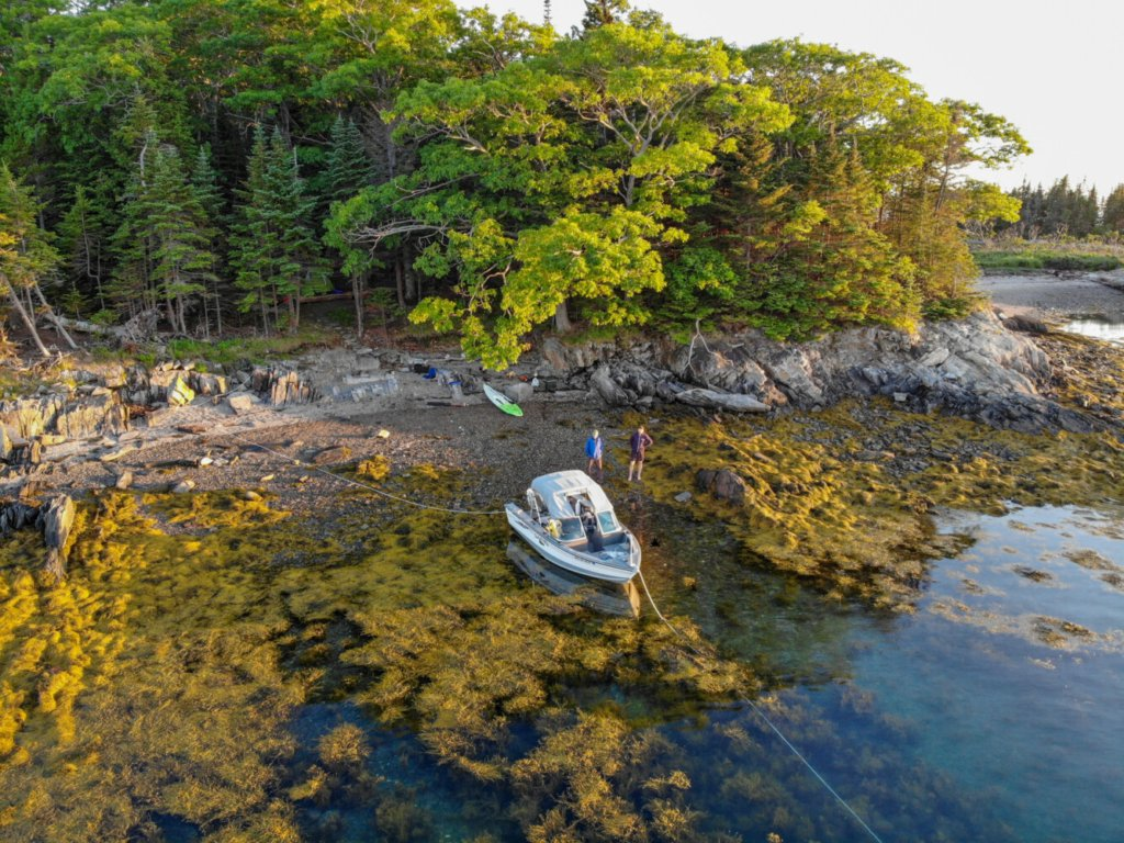 A rocky beach leads to one of two campsites on Little Whaleboat Island. The writer and his son stand by the writer's boat, bottomed out at low tide on the seaweed-draped shore, on a recent June afternoon.