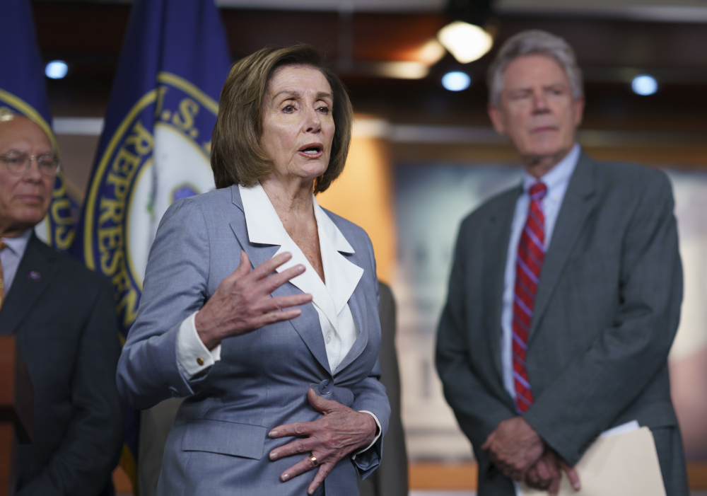 Speaker of the House Nancy Pelosi, D-Calif., responds to a question about her creation of a select committee to investigate the Jan. 6 insurrection at the Capitol, during a news conference at the Capitol in Washington on Wednesday.