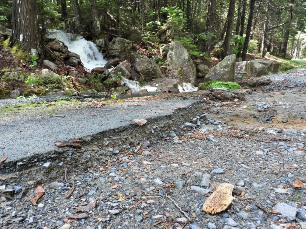Part of a carriage road in Acadia National Park is washed away after a severe storm last week.