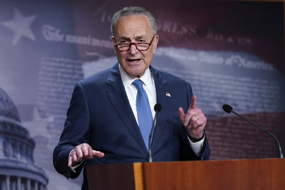 """Senate Majority Leader Chuck Schumer, D-N.Y., said of the technology bill, """"The premise is simple, if we want American workers and American companies to keep leading the world, the federal government must invest in science, basic research and innovation, just as we did decades after the Second World War."""""""
