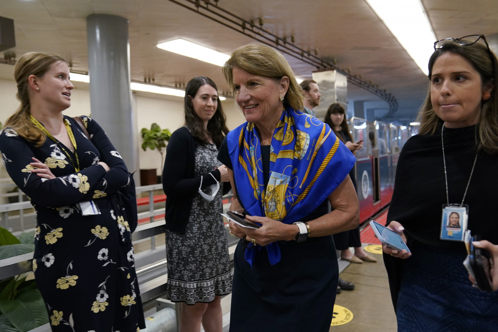 """President Biden thanked Sen. Shelley Moore Capito, R-W.Va., shown on Capitol Hill in Washington on Tuesday, for her """"good faith"""" efforts to craft a bipartisan infrastructure package."""