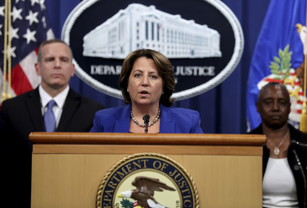 Deputy Attorney General Lisa Monaco announces the recovery of millions of dollars worth of cryptocurrency from the Colonial Pipeline Co. ransomware attacks as she speaks during a news conference with FBI Deputy Director Paul Abbate and acting U.S. Attorney for the Northern District of California Stephanie Hinds at the Justice Department in Washington on Monday.