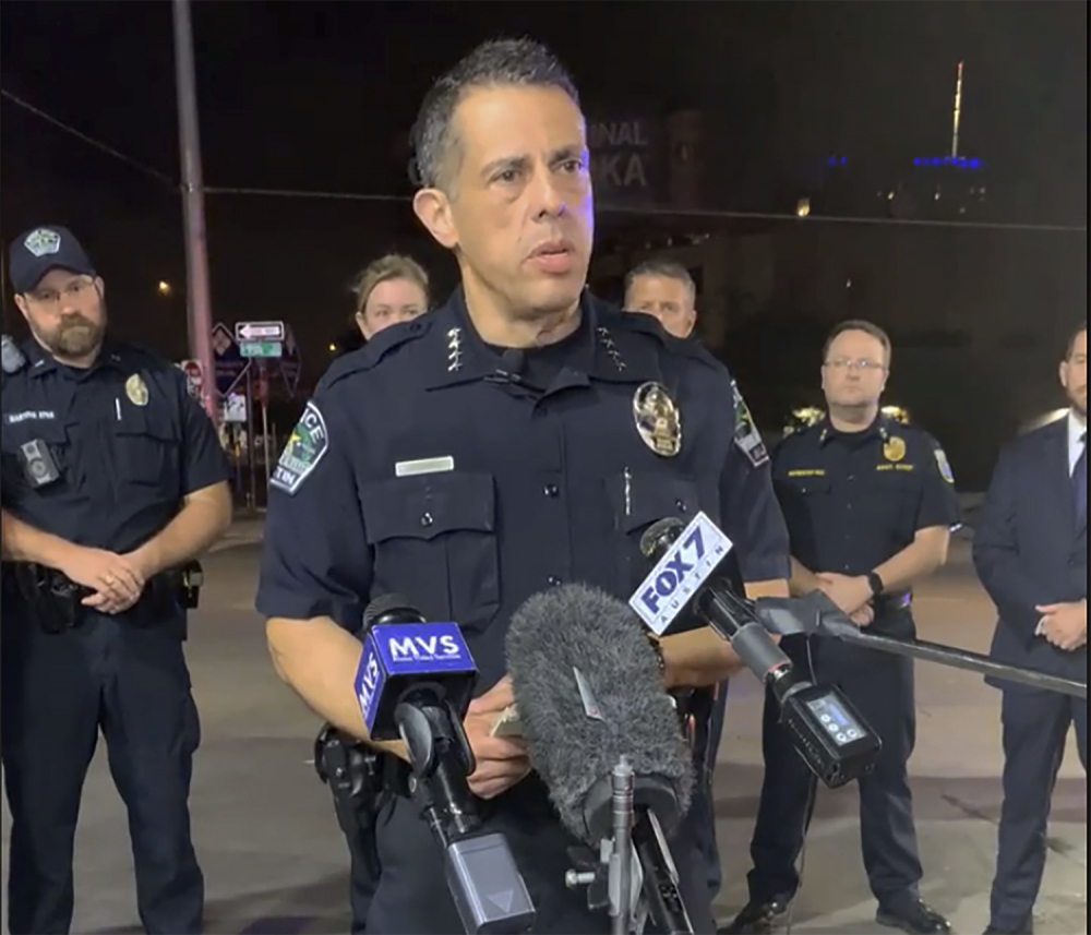 Austin Police Chief Chacon provides an update on overnight shootings in Austin, Texas, early Saturday. Chacon says gunfire erupted in a busy entertainment district downtown early Saturday injuring several.