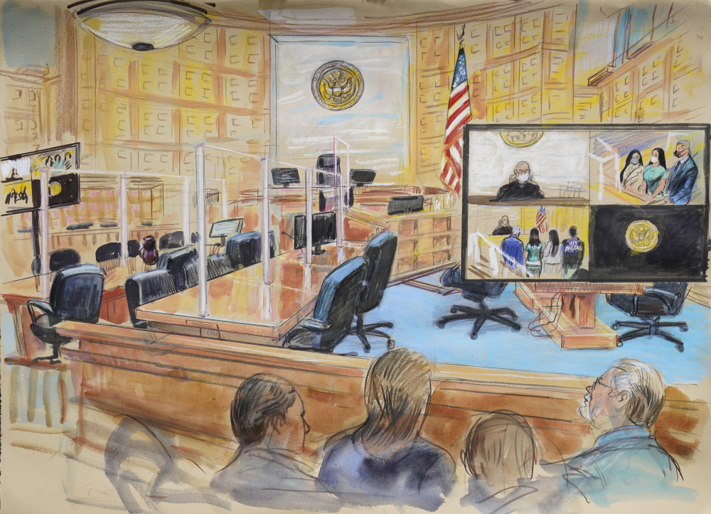 """This artist's sketch depicts the court proceedings for the wife of Mexican drug kingpin Joaquin """"El Chapo"""" Guzman, Emma Coronel Aispuro, during a court hearing at the U.S. District Courthouse in Washington on Thursday."""