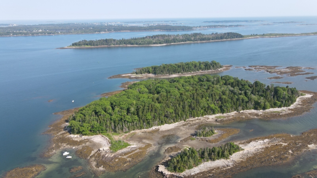 The interconnected mudflats, beaches and ledges that make up Little Whaleboat Island in Harpswell are visible from the air at low tide. (Great) Whaleboat Island and Harpswell Neck are seen in the background. The Maine Coast Heritage Trust has launched a campaign to buy and protect Little Whaleboat for public access, part of an evolving network of preserves it is assembling in Casco Bay.