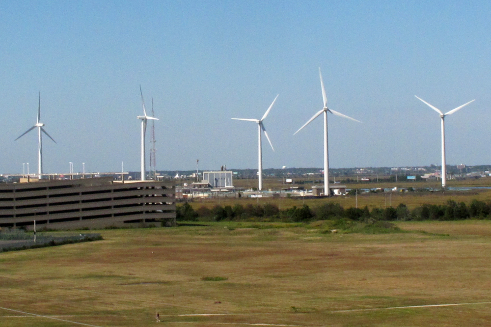 Wind turbines at the Atlantic County Utilities Authority plant in Atlantic City, N.J., shown in 2020.