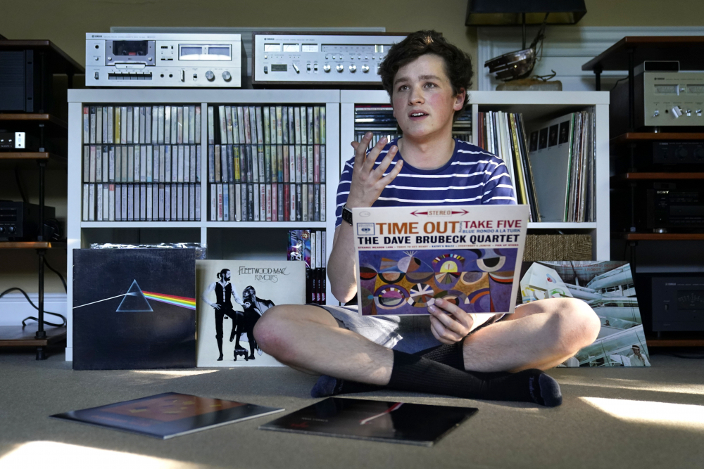 Will Emanuel discusses his interest in vinyl records at his home on Thursday in Falmouth.
