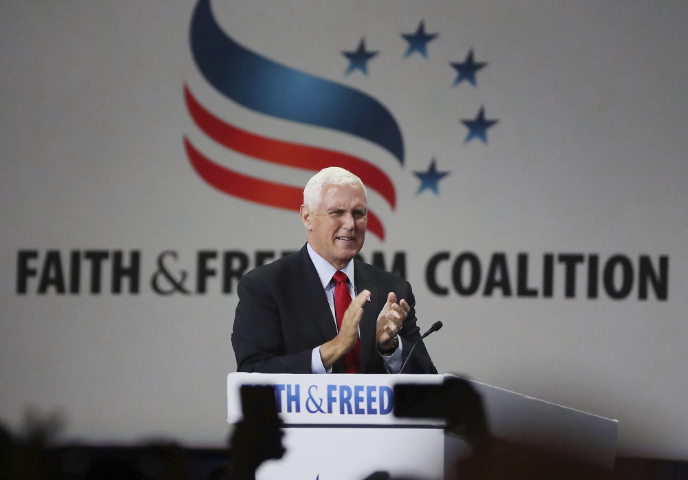 Former vice president Mike Pence speaks during the Road to Majority convention at Gaylord Palms Resort & Convention Center in Kissimmee, Fla., on Friday, June 18.