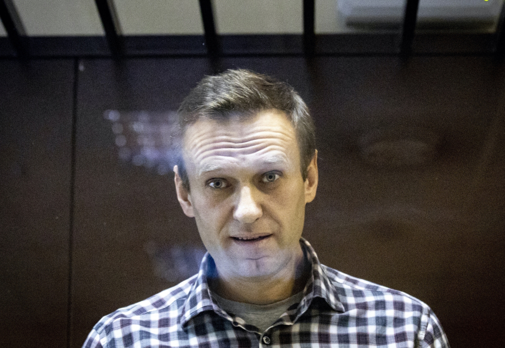 Russian opposition leader Alexei Navalny is shown in February in the Babuskinsky District Court in Moscow, Russia.