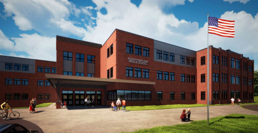 Construction has begun on a new $69.3 million middle school in South Portland, shown here in an architect's rendering.