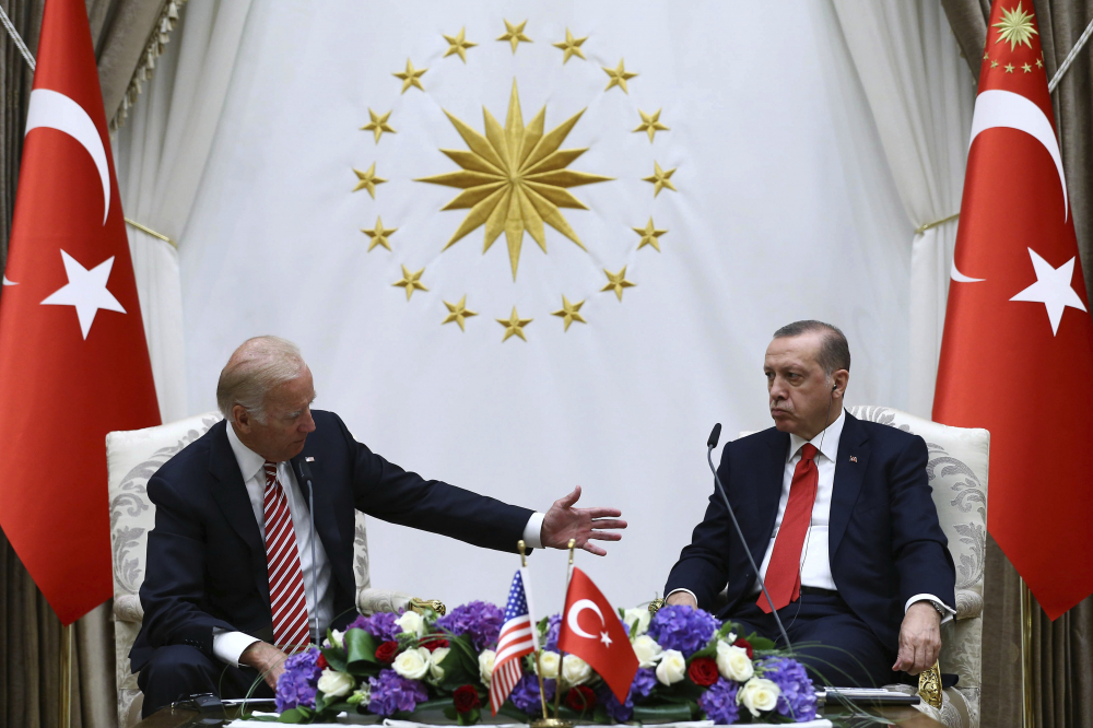 Then-Vice President Biden, left, and Turkish President Recep Tayyip Erdogan speak to the media after a meeting in Ankara, Turkey, on Aug. 24, 2016. Erdogan will meet with at least four other global leaders during the NATO summit this week.
