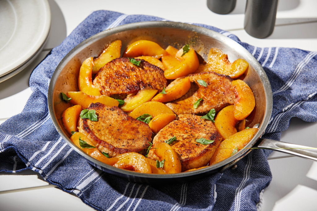 Pork Chops and Peaches Skillet