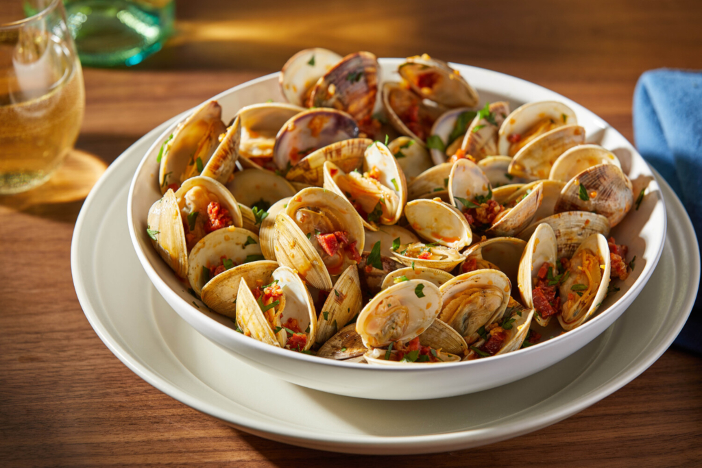 Grilled Clams with Garlicky Chorizo Drizzle