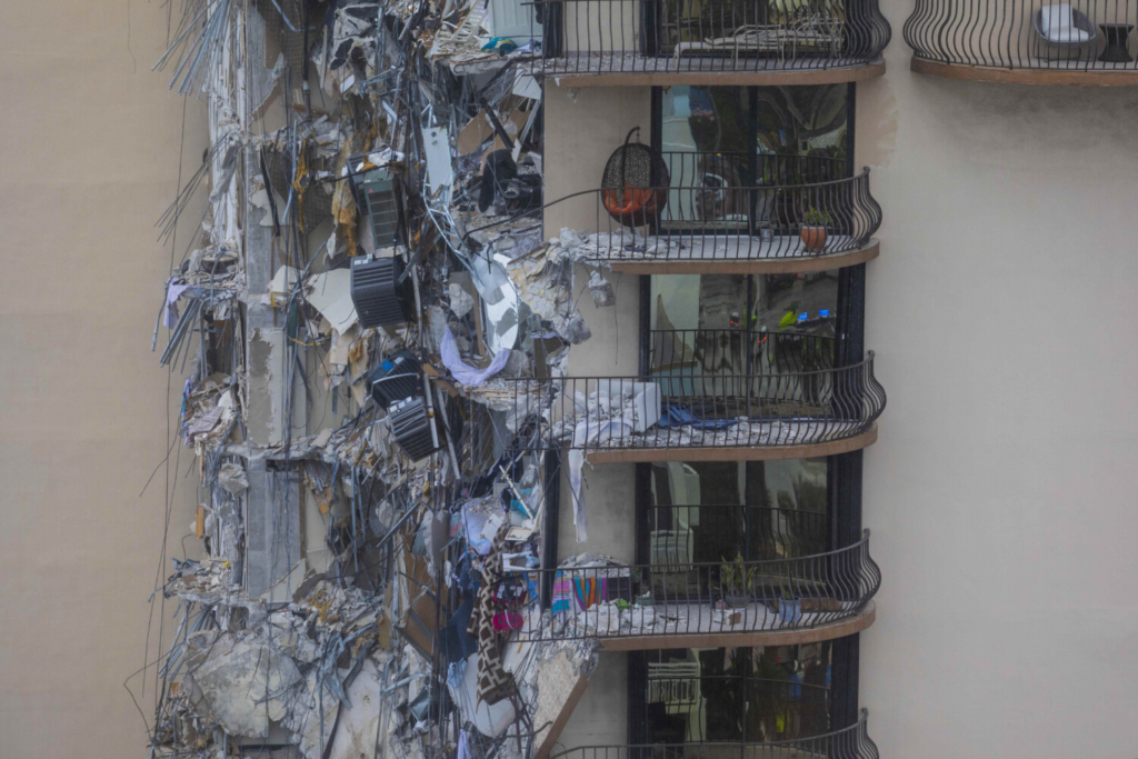 Part of a 12-story condo tower was sheared away in a partial collapse in Surfside, Florida.
