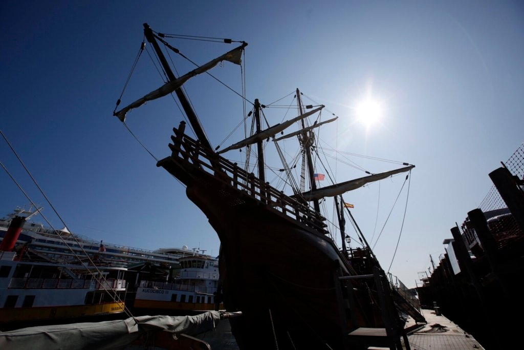 PORTLAND, ME - SEPTEMBER 18: The Nao Santa Maria docked at Maine Wharf on PortlandÕs waterfront on Wednesday morning. The replica tall ship, which was commissioned by the Nao Victoria Foundation, is three-masted and weighs around 200 tons. (Staff photo by Ben McCanna/Staff Photographer)