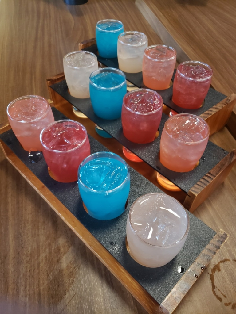 Margarita flights in rotating flavors are on special, along with tacos, every Tuesday.