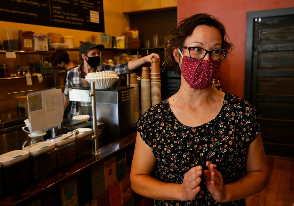 BIDDEFORD, ME - JULY 28: Katie Pinard, owner of Elements in Biddeford discusses the new mask recommendations with a reporter Wednesday, July 28, 2021. (Staff Photo by Shawn Patrick Ouellette/Staff Photographer)