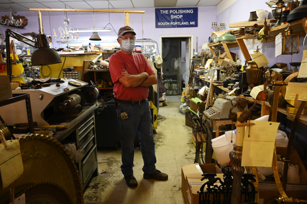 """Mike Gutgsell of The Polishing Shop in South Portland on Thursday: """"Even though we're fully vaccinated, there are breakthrough cases. I'm not taking any chances."""""""