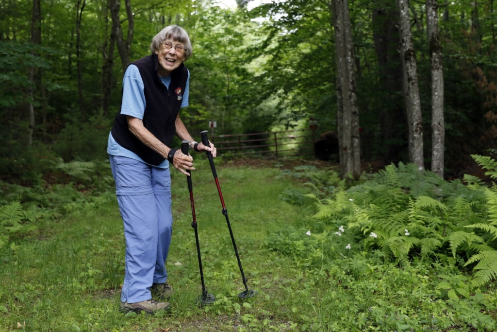 Margaret Mathis of Bridgton has hiked all over the world, and at 93 years old, she shows no signs of stopping. She hikes every Friday year-round with a group called the Denmark Mountain Hikers, and she hikes on her own as well.