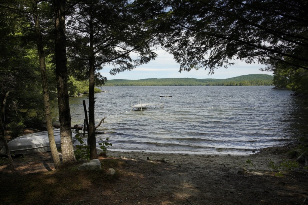 The beach area of Bearnstow Camp on Parker Pond in Mount Vernon.