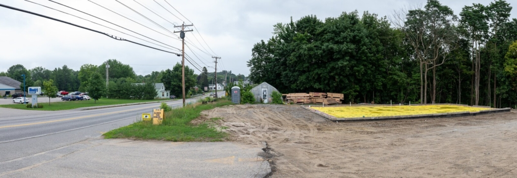 Several buildings and greenhouses at Roak the Florist on outer Main Street in Lewiston have been torn down and the foundation has been poured for a new building that will be shared between the florist and Urban Garden Center.