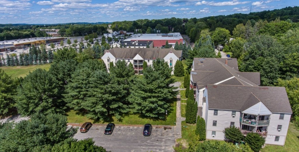 An aerial view of Mallview Terrace Apartments on Marston Street in Lewiston. Kevin Fletcher's Marston Investment Group LLC has purchased the 48-unit complex for $3.1 million with plans for major upgrades. The Lewiston Mall can be seen in the background left.