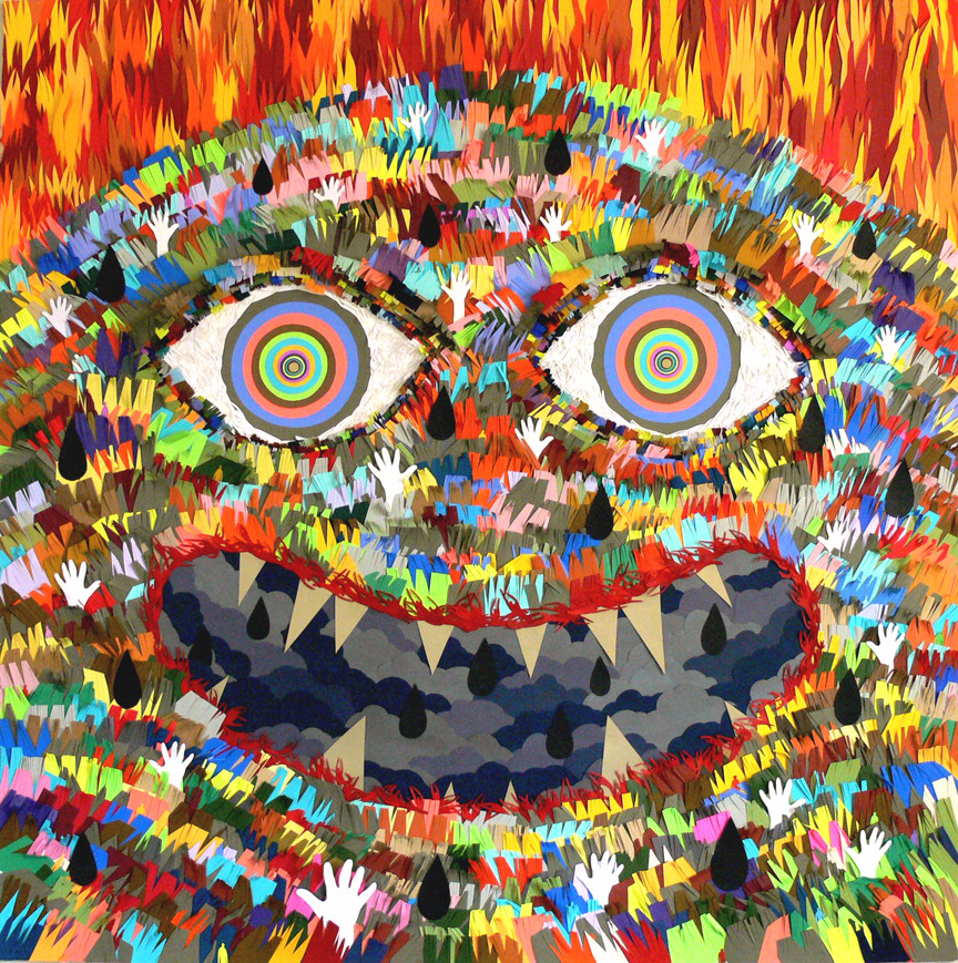 """""""The Great Protector,"""" made of cut paper by Michael Velliquette is part of """"The Art of Mending"""" exhibit."""