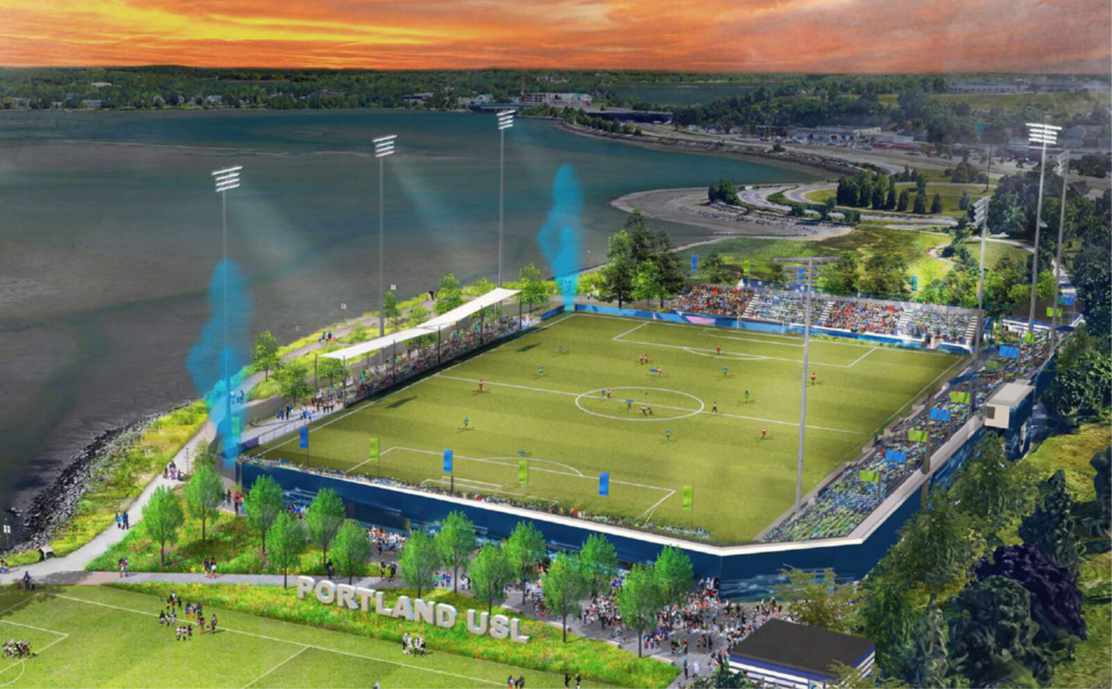 A rendering of a proposed pro soccer stadium at the Preble Street Field in Portland's Back Cove. The stadium proposal, pitched by a group wanting to bring a USL League One pro soccer team to Maine, was heard Tuesday by the City Council's Housing and Economic Development Committee.