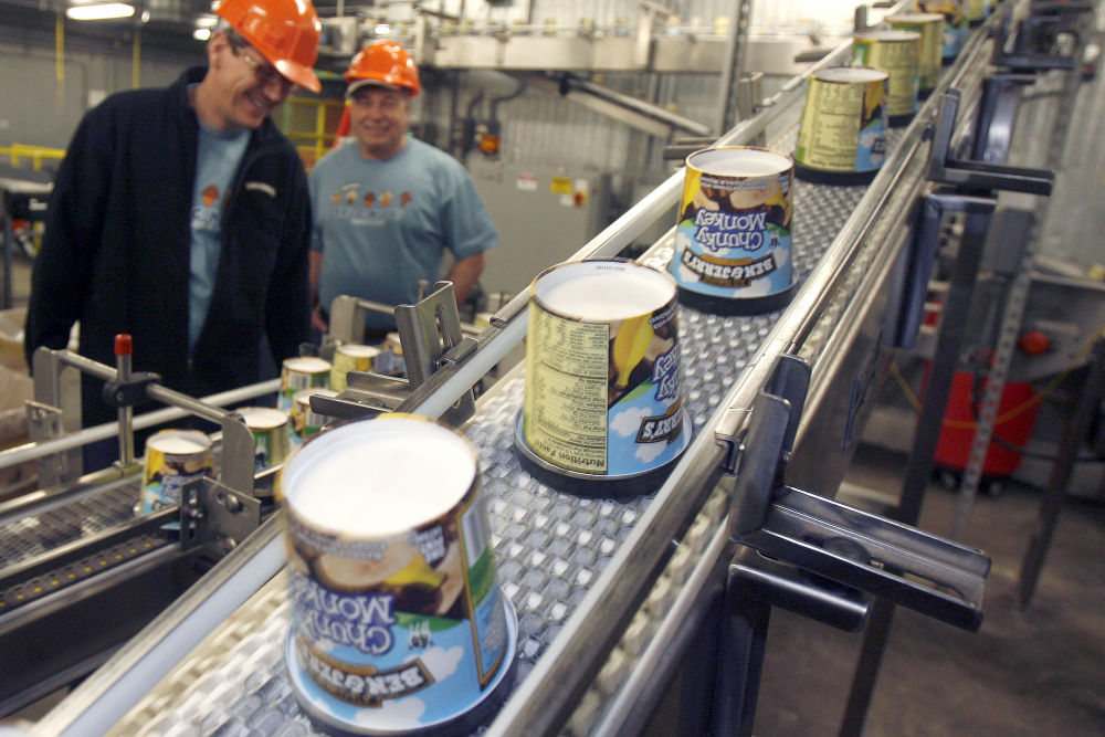 Ice cream moves along the production line at Ben & Jerry's Homemade Ice Cream in 2010 in Waterbury, Vt.