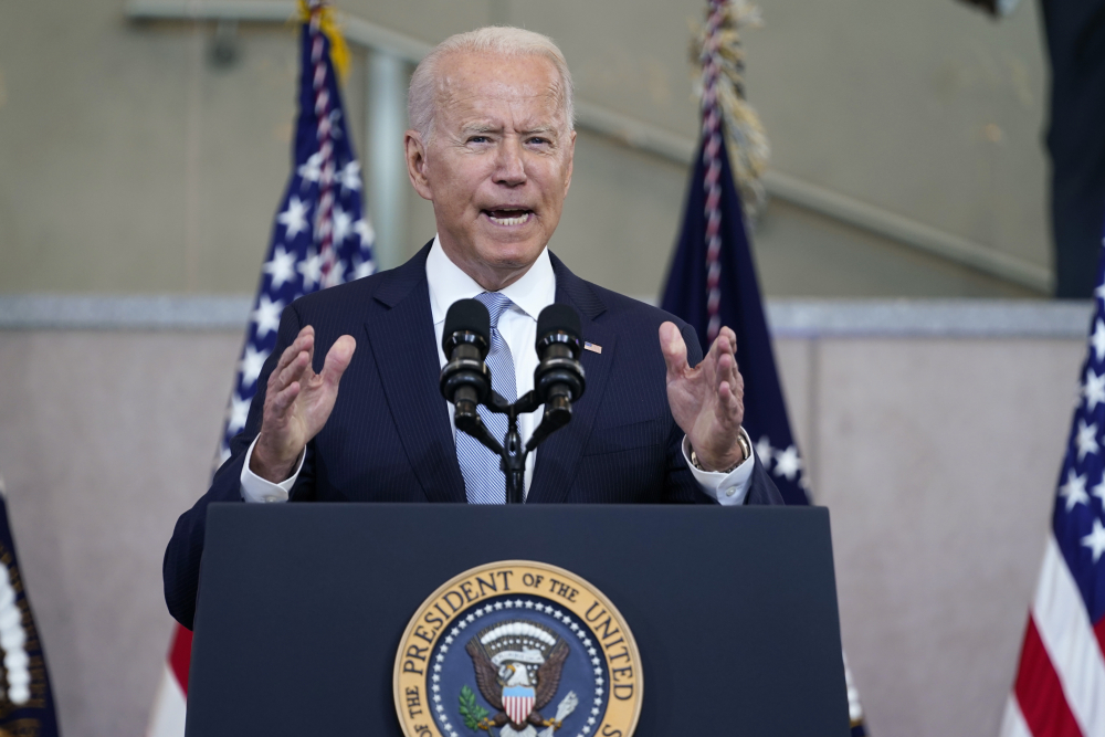 President Biden delivers a speech on voting rights at the National Constitution Center on Tuesday in Philadelphia.
