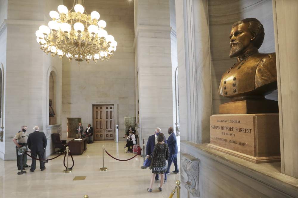A bust of Nathan Bedford Forrest is displayed in the Tennessee State Capitol in Nashville, Tenn.
