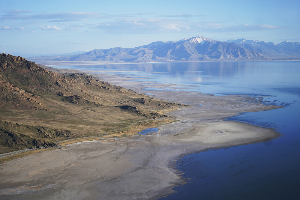 The Great Salt Lake recedes from Anthelope Island on May 4 near Salt Lake City.