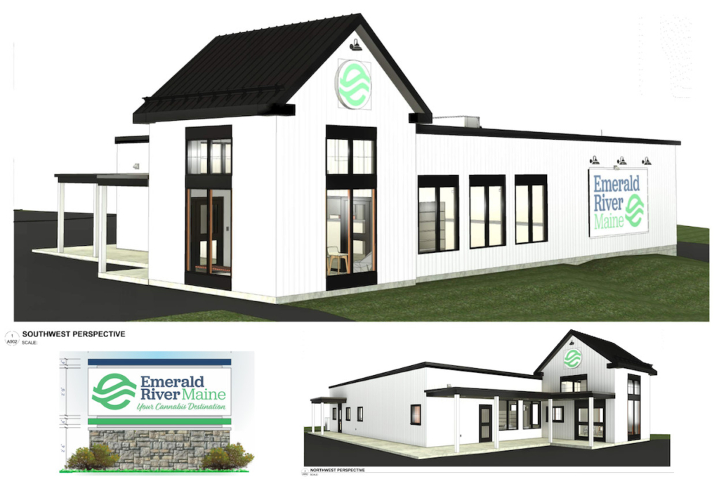 A rendering of the future Emerald River Maine recreational use cannabis shop breaking ground soon at 1240 Lisbon St. in Lewiston, the former site of the state's third McDonald's restaurant.