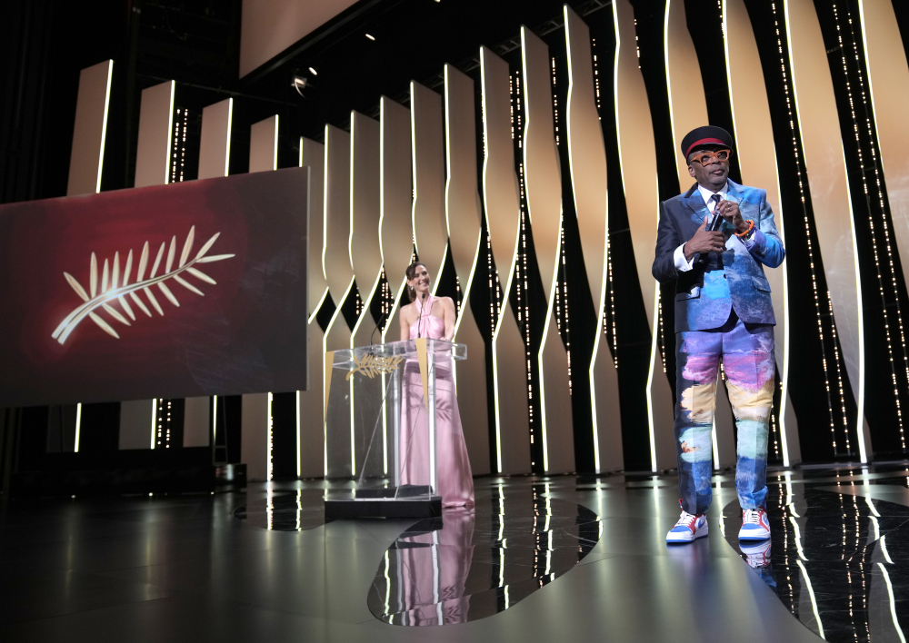 Jury president Spike Lee, right, appears during the awards ceremony for the 74th international film festival, Cannes, southern France, on Saturday.